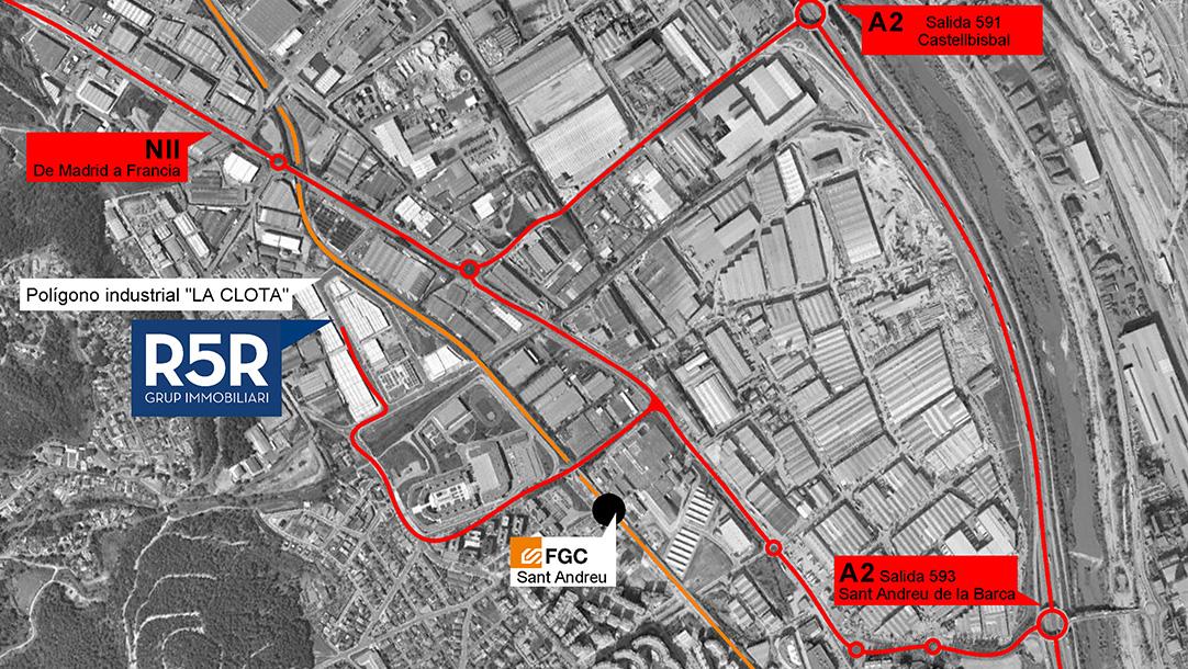 Nave Industrial Alquiler Sant Andreu Barca Polígono La Clota mapa situación